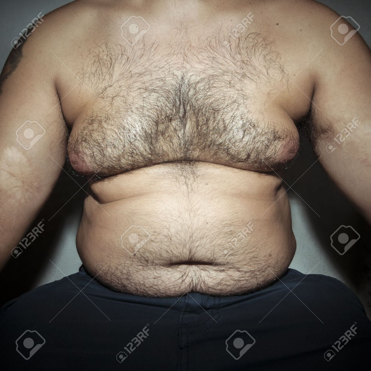 Hairy male belly